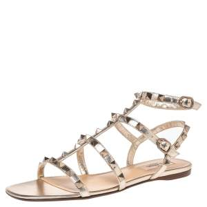 Valentino Gold Leather Rockstud  Ankle Strap Flat Size 38