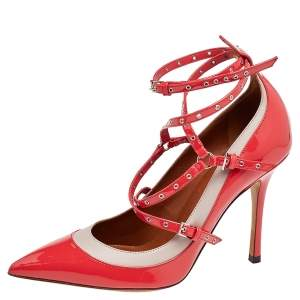 Valentino Coral/Grey Patent Leather Love Latch Detail Eyelet Embellished Pumps Size 39