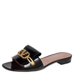 Valentino Black Patent Leather V Logo Sandals Size 38