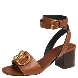 Valentino Tan Leather VLogo Ankle Wrap Sandals Size 38