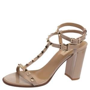 Valentino Beige Patent Leather T Strap Rockstud Sandals 39.5