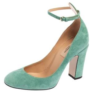 Valentino Aqua Green Suede Ankle Strap Block Heel Sandals Size 37.5