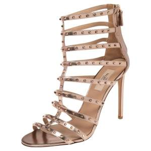 Valentino Metallic Rose Gold Leather Caged Studded Sandals Size 41
