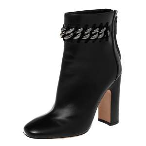 Valentino Black Leather Chain Link Embellished Block Heel Ankle Boots Size 38