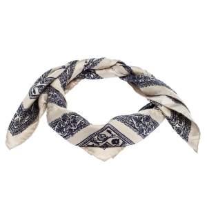 Valentino Beige & Blue Printed Silk Scarf