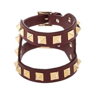 Valentino Oxblood Leather Gold Tone Rockstud Wide Bracelet