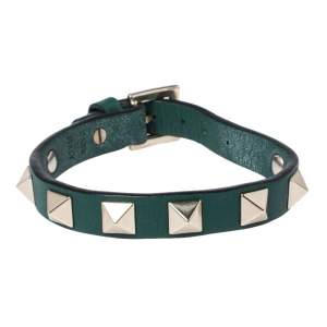 Valentino Green Leather Pale Gold Tone Rockstud Bracelet