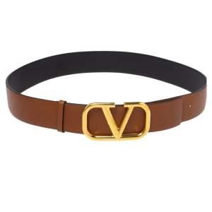 Valentino Brown Leather V Logo Belt Size 80 CM