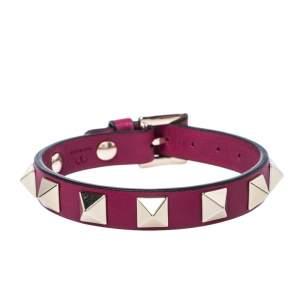 Valentino Raspberry Pink Leather Pale Gold Tone Rockstud Bracelet