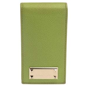 Valentino Green Grained Leather Rockstud iPhone 5 Flip Case