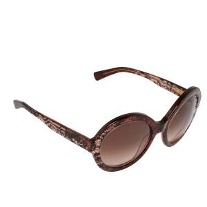 Valentino Bordeaux/ Brown Gradient Lace Detail V668S Round Sunglasses