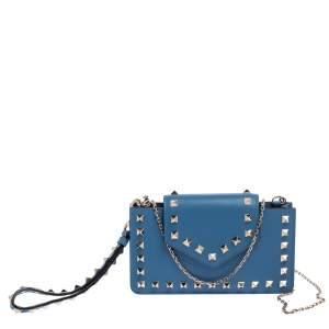 Valentino Blue Leather Rockstud Chain Phone Case
