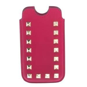 Valentino Fuchsia Leather Rockstud iPhone 5/5S Case
