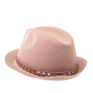 Valentino Powder Pink Rabbit Fur Felt Rockstud Detail Fedora Hat M