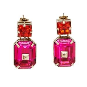 Valentino Pink & Orange Crystal Rockstud Drop Earrings