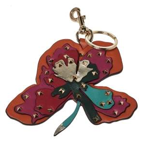 Valentino Multicolor Tropical Flower Studded Leather Keyring / Bag Charm