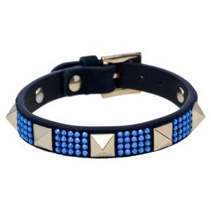 Valentino Blue Suede Crystal Embellished Rockstud Bracelet