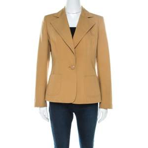 Valentino Mustard Yellow Cotton Single Button Blazer L