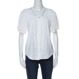 Valentino White Cotton Tattered Effect Puffed Sleeve Top S