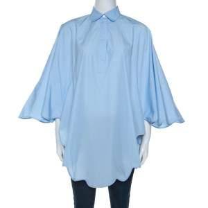 Valentino Light Blue Cotton Scalloped Hem Shirt M