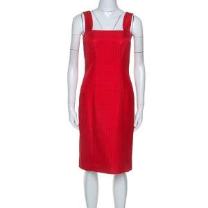 Valentino Red Textured Silk Blend Short Dress M