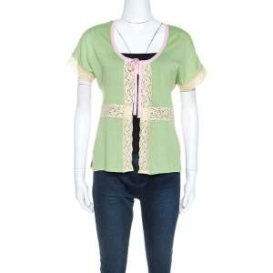 Valentino Light Green Wool Knit Lace Detail Cardigan M