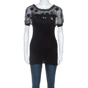 Valentino Black Wool and Silk Embellished Detail Top S
