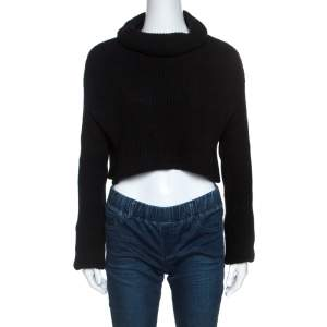 Valentino Black Wool Rib Knit Turtle Neck Cropped Sweater M