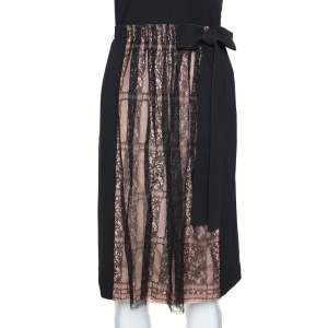 Valentino Black Crepe and Lace Insert Midi Skirt M