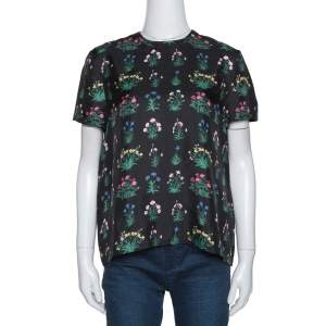 Valentino Black Floral Print Silk Short Sleeve Top S