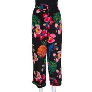 Valentino Multicolor Silk Tropical Print Wide Leg Pants S
