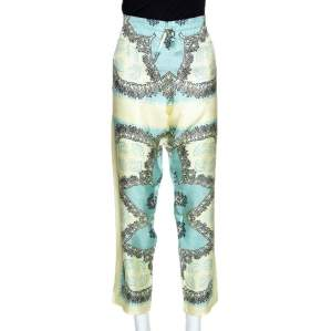 Valentino Turquoise and Yellow Printed Silk Pajama Pants L