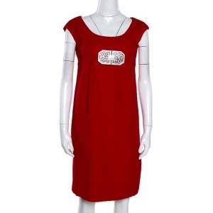 Valentino Red Textured Wool Bejewelled Sheath Dress M