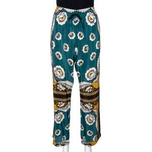 Valentino Green Floral Printed Silk Elasticised Waist Pants M