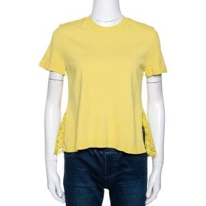 Valentino Yellow Knit & Lace Short Sleeve Top M