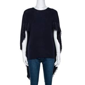 Valentino Black Wool Lace Trim Cape Top M