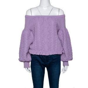 Valentino Lilac Wool Aran Knit Off Shoulder Sweater L