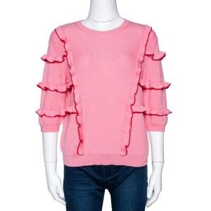Valentino Pink Cotton Knit Ruffle Trim Sweater M