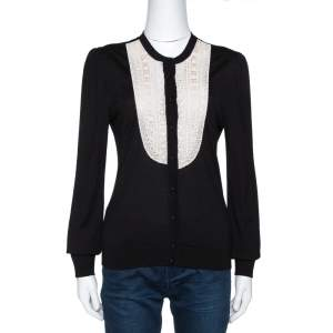 Valentino Black Silk Wool Blend Embellished Yoke Cardigan L