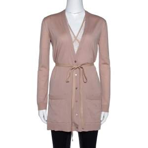 Valentino Blush Pink Wool & Lace Belted Cardigan XS