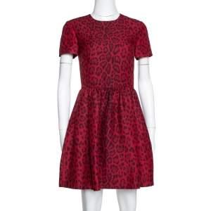 Valentino Red Wool & Silk Blend Leopard Print Short Dress S