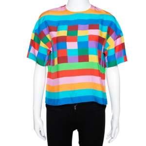 Valentino Multicolor Stripe & Check Print Silk Boxy Top S