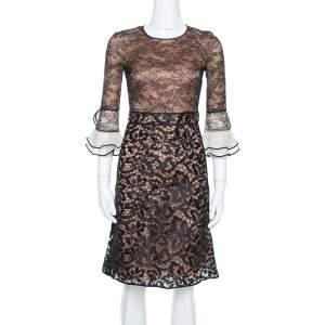 فستان فالنتينو ميدي أكمام فلوت طبقات دانتيل أسود S
