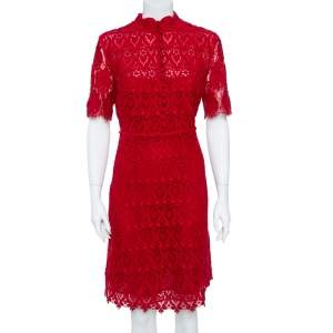 Valentino Red Lace Button Front Sheath Dress M