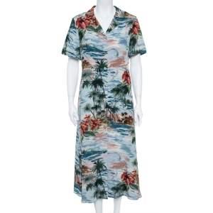Valentino Pale Blue Hawaiian Landscape Print Silk Shirt Dress M