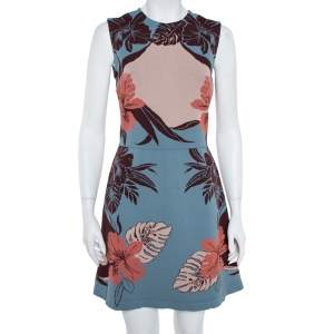Valentino Slate Blue Floral Jacquard Sleeveless Dress M