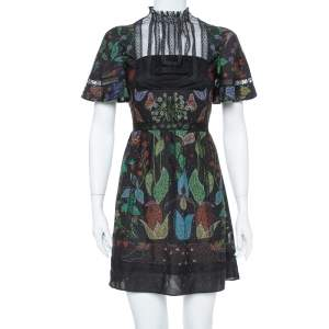 Valentino Black Watersong Printed Silk & Lace Trim Short Dress XS