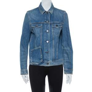 Valentino Blue Denim Rockstud Untitled 19 Jacket M