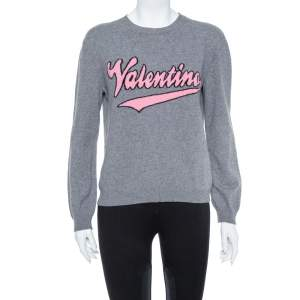 Valentino Grey Cashmere Blend Logo Intarsia Crewneck Sweater M