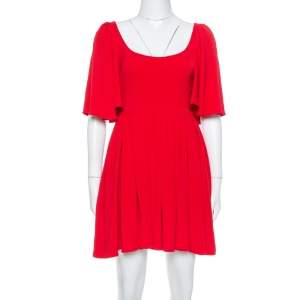 Valentino Red Silk Crepe Cape Sleeve Detailed Pleated Fit & Flare Dress S